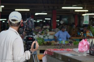 Filming in the market