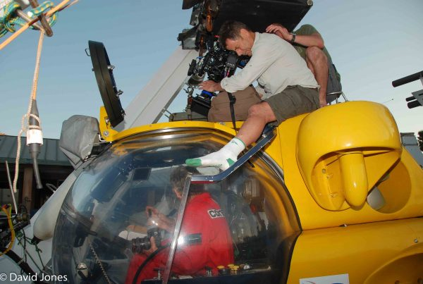 Filming the submarine for A Plastic Ocean