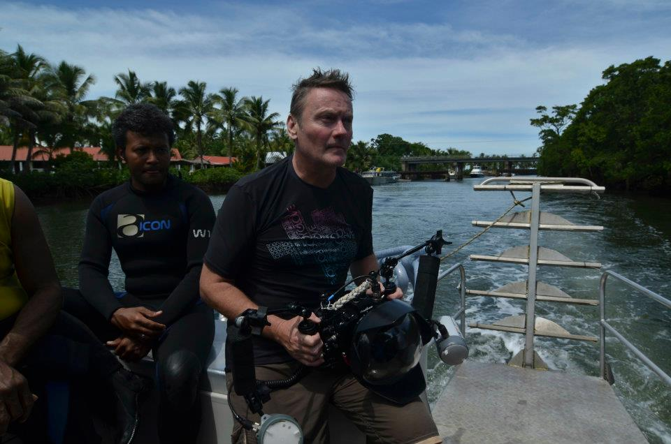 David Jones filming in Fiji