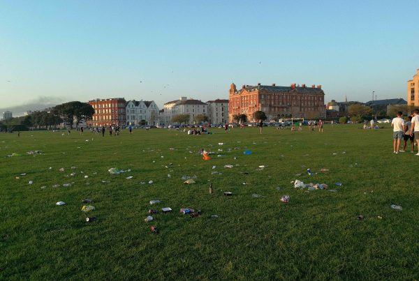 Plastic waste as the sun goes down in Southsea