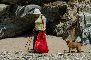 Picking up plastic pollution from the beach