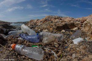 Plastic on a beach in Malta
