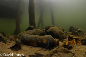 Bottles on the bottom of the lake