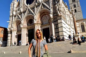 Cathedral and Tanya in Siena