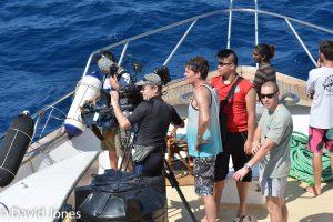 Filming A Plastic Ocean on deck off Sri Lanka