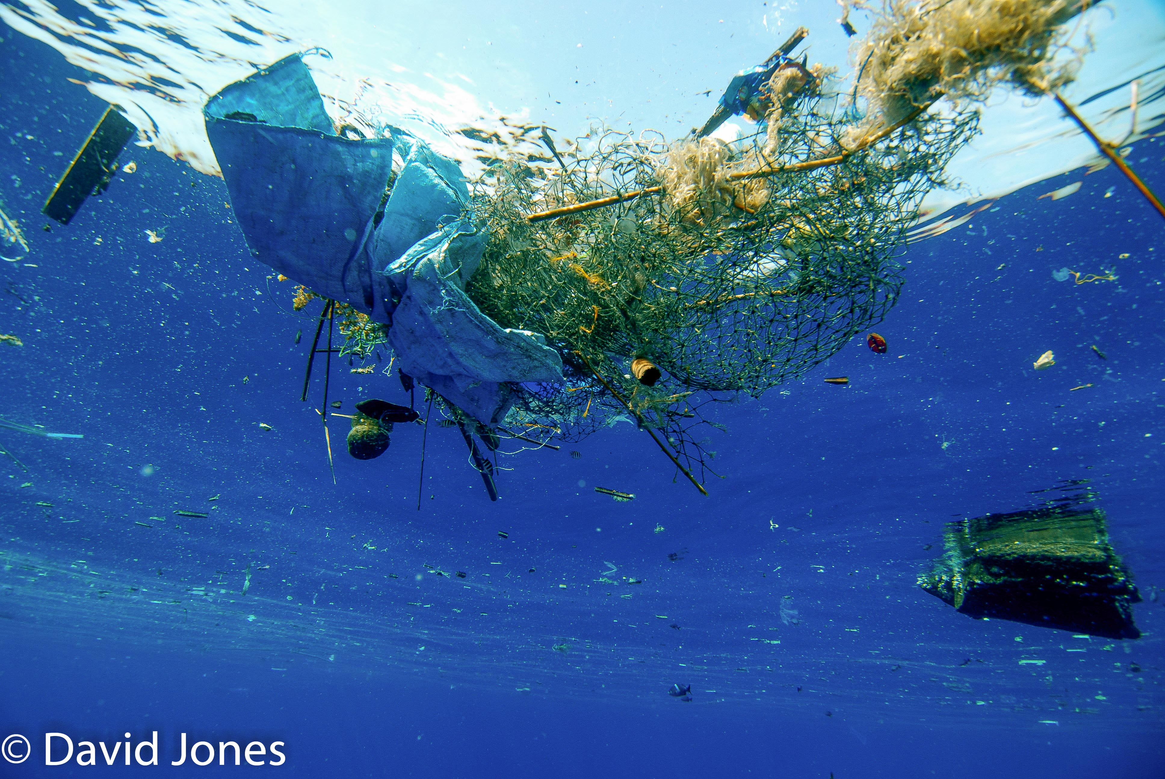 Plastic waste and nets in the ocean - Sri Lanka