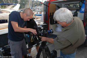 Film crew checking the camera