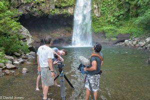 Filming in waterfall Fiji