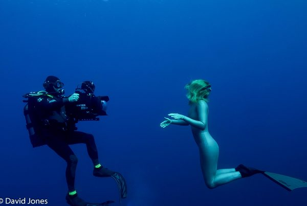 Michael Pitts filming Tanya Streeter for A Plastic Ocean