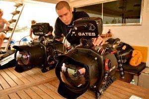 Underwater camera housings being prepared