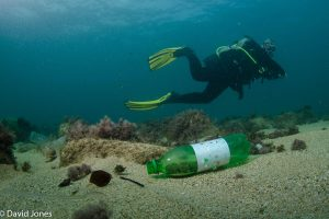 Diver swims past plastic bottle