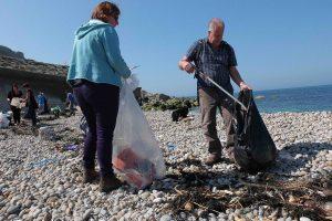 volunteers at a beach clean