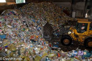 working in a plastic recycling plant