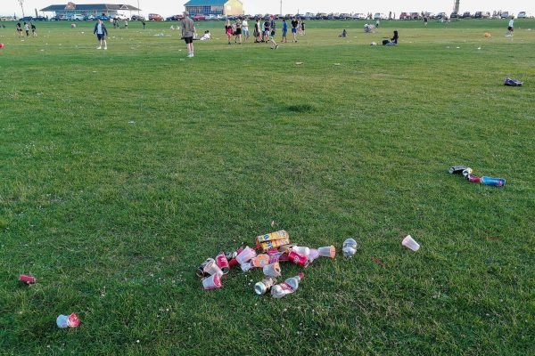 Pile of plastic waste left on the common