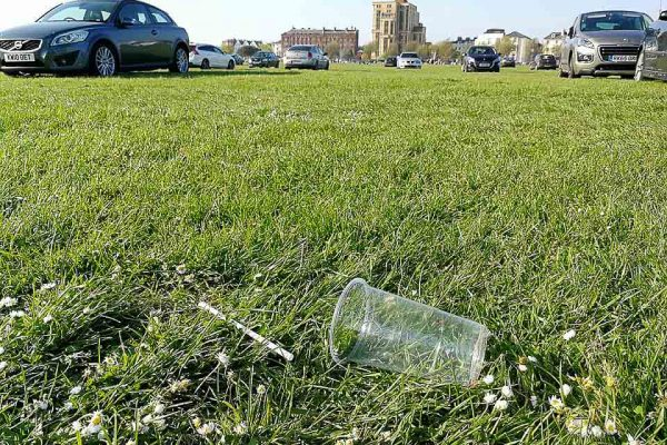 plastic cup on the common
