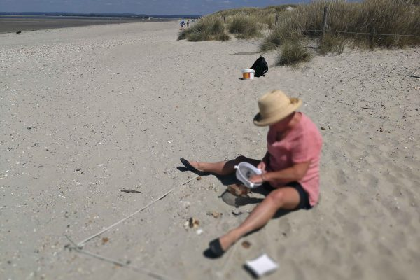 sorting plastics on the beach