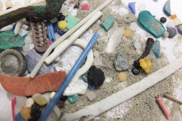 Nurdles mixed in with secondary microplastics