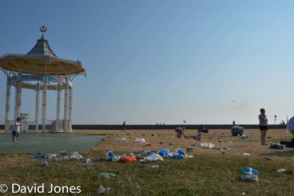 The Southsea bandstand covered in rubbish