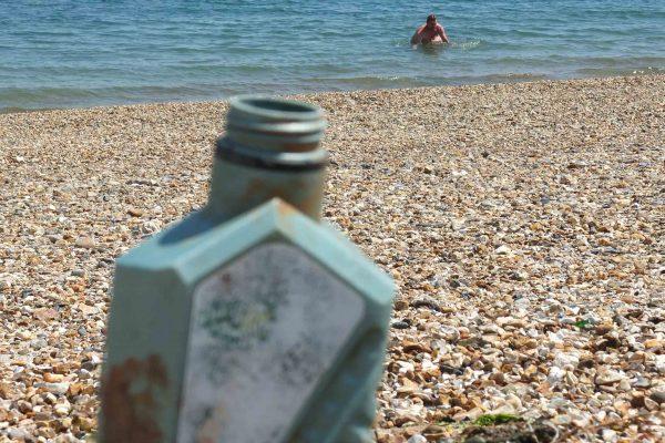 oil can on the beach